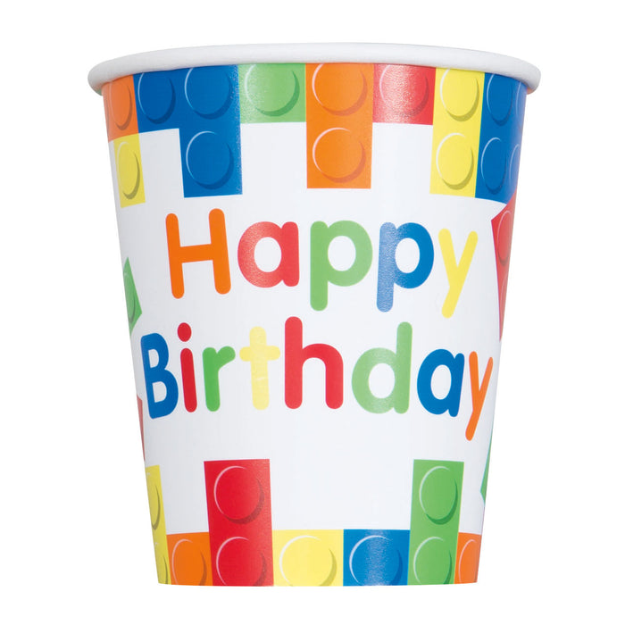 Building Blocks Birthday 9oz Paper Cups, 8ct