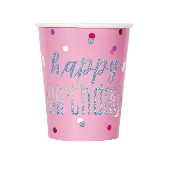 Birthday Pink Glitz 9oz Paper Cups, 8ct
