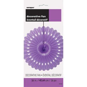 "Lavender Solid 16"" Tissue Paper Fan"