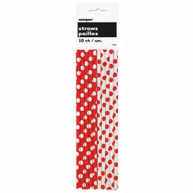 Ruby Red Dots Paper Straws, 10ct