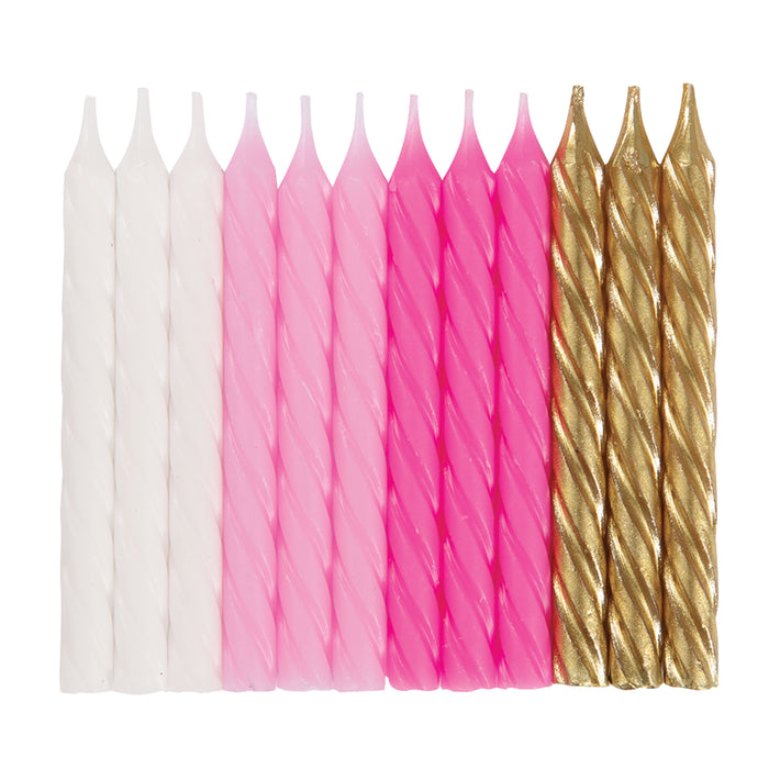 Pink, White & Gold Spiral Birthday Candles, 24ct