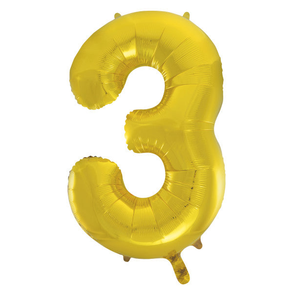 "Gold Number 3 Shaped Foil Balloon 34"", Packaged"