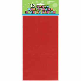 Ruby Red Paper Party Bags, 12ct
