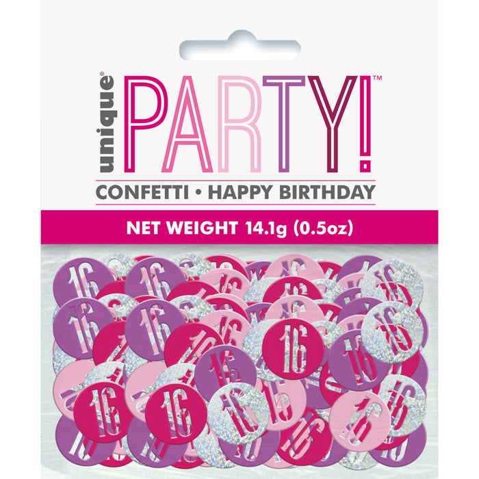 Birthday Pink Glitz Number 16 Confetti, .5oz