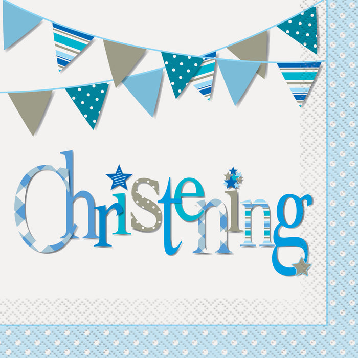 Blue Bunting Christening Luncheon Napkins, 16ct