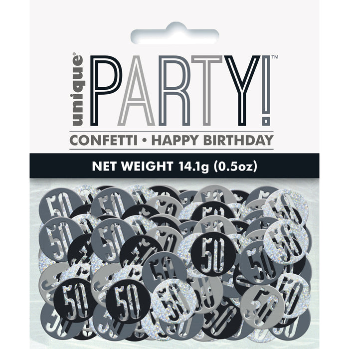 Birthday Black Glitz Number 50 Confetti, .5oz