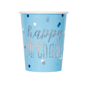Birthday Blue Glitz 9oz Paper Cups, 8ct