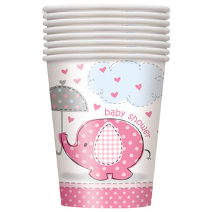 Umbrellaphants Pink 9oz Paper Cups, 8ct