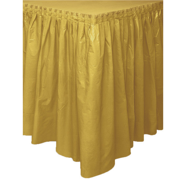 "Gold Solid Plastic Table Skirt, 29""x14ft"