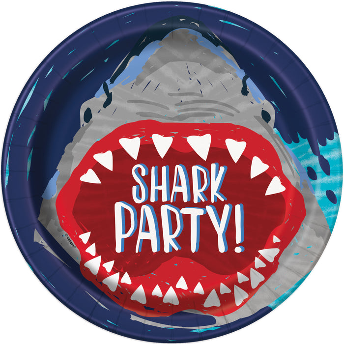 "Shark Party Round 9"" Dinner Plates, 8ct"