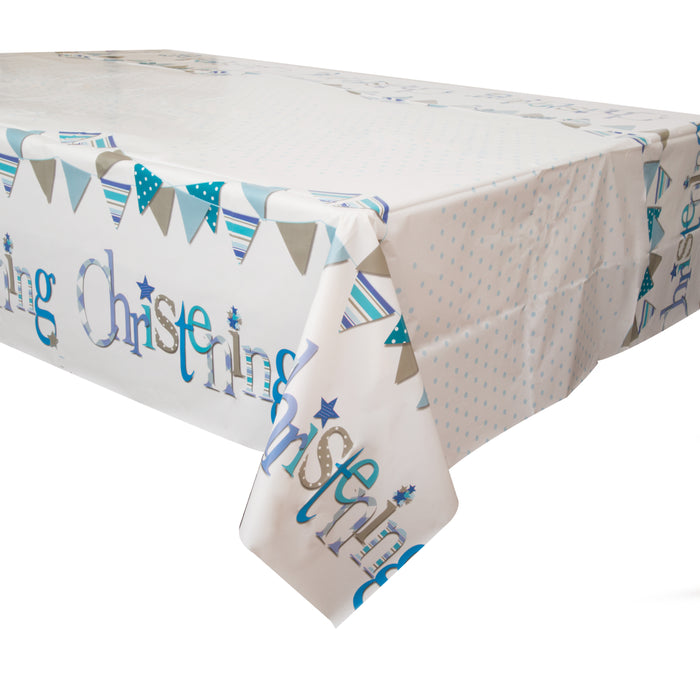 "Blue Bunting Christening Rectangular Plastic Table Cover, 54""x84"""