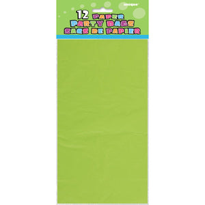 Lime Green Paper Party Bags, 12ct