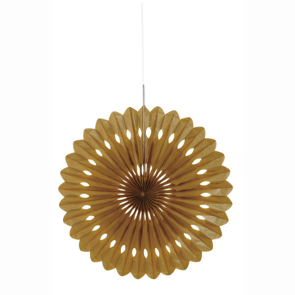 "Gold Solid 16"" Tissue Paper Fan"