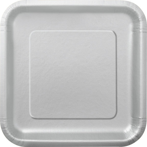 "Silver Solid Square 9"" Dinner Plates, 14ct"