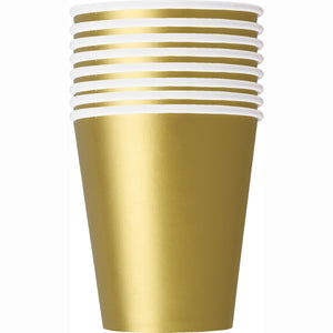 Gold Solid 9oz Paper Cups, 14ct