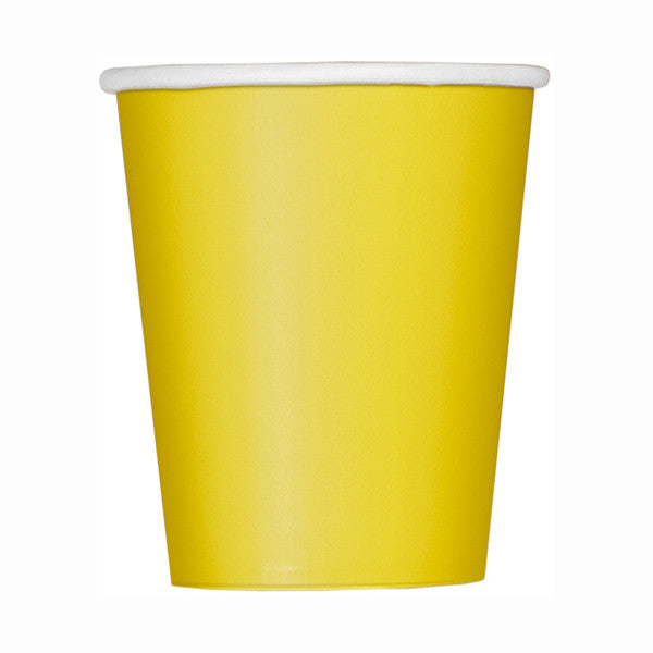 Sunflower Yellow Solid 9oz Paper Cups, 14ct