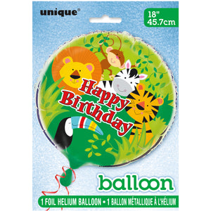 "Animal Jungle Round Foil Balloon 18"", Packaged"