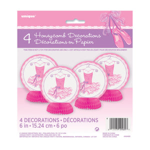 Pink Ballerina Mini Honeycomb Decorations, 4ct