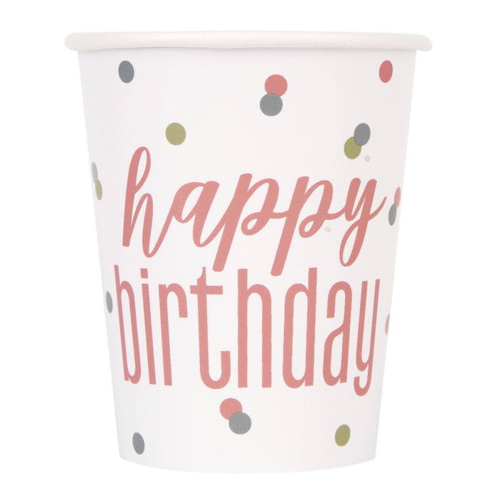 "8 Glitz Rose Gold ""Happy Birthday Cups, 9oz"