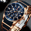 Mens Watches Luxury Quartz Blue Watch Full Steel Men Chronograph Waterproof Business Wrist Watch