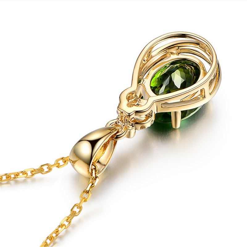 14k gold color emerald small pendant necklaces
