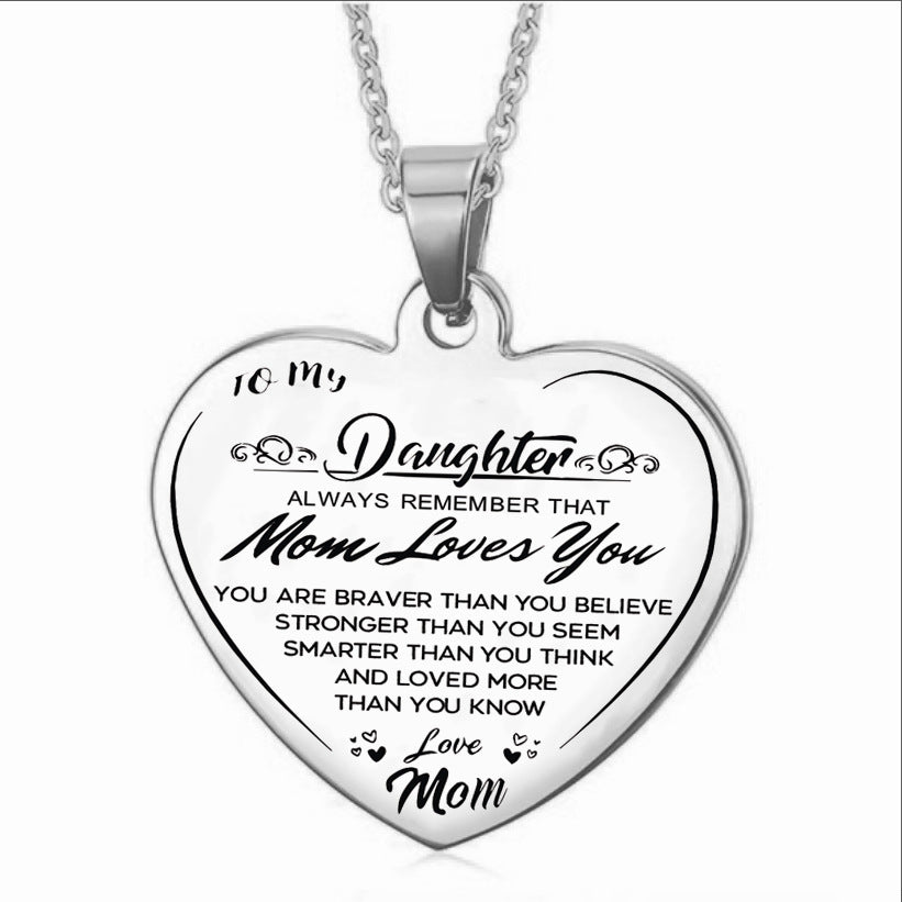 To My Daughter (Love Mom) Heart Necklace