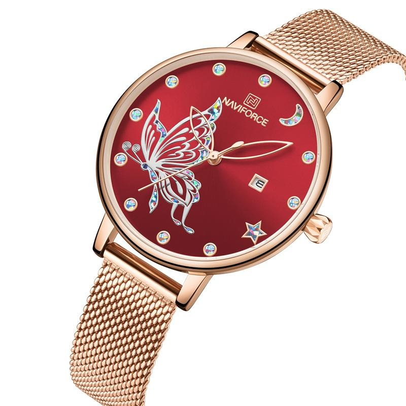Luxury Crystal Watch Steel Mesh Ladies Wrist Watches