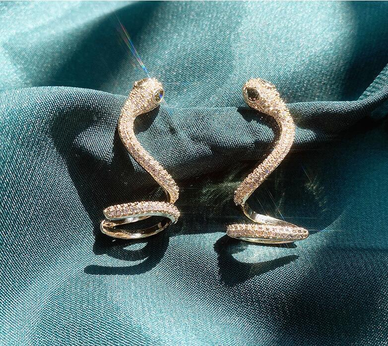 Snake Cubic Zirconia Earrings(A Pair)