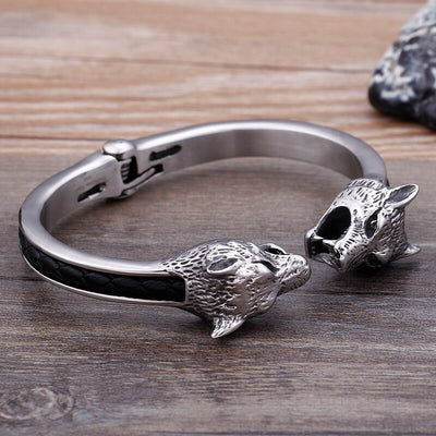 8*67mm Pure stainless steel Gothic bracelet Biker Wolf Cuff Bangle