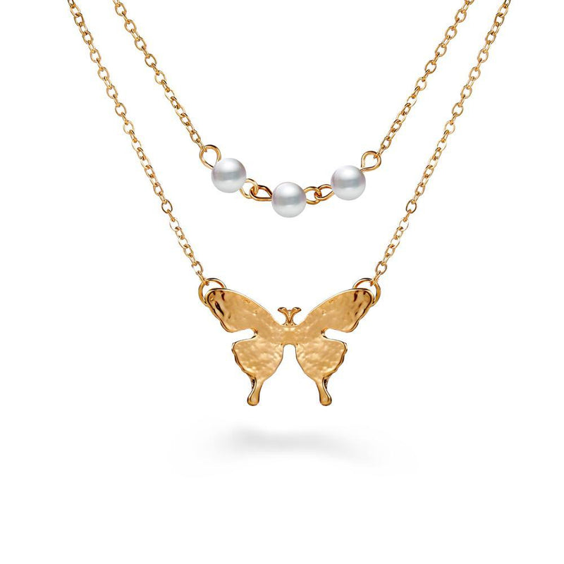 Peal Butterlfly Necklace set