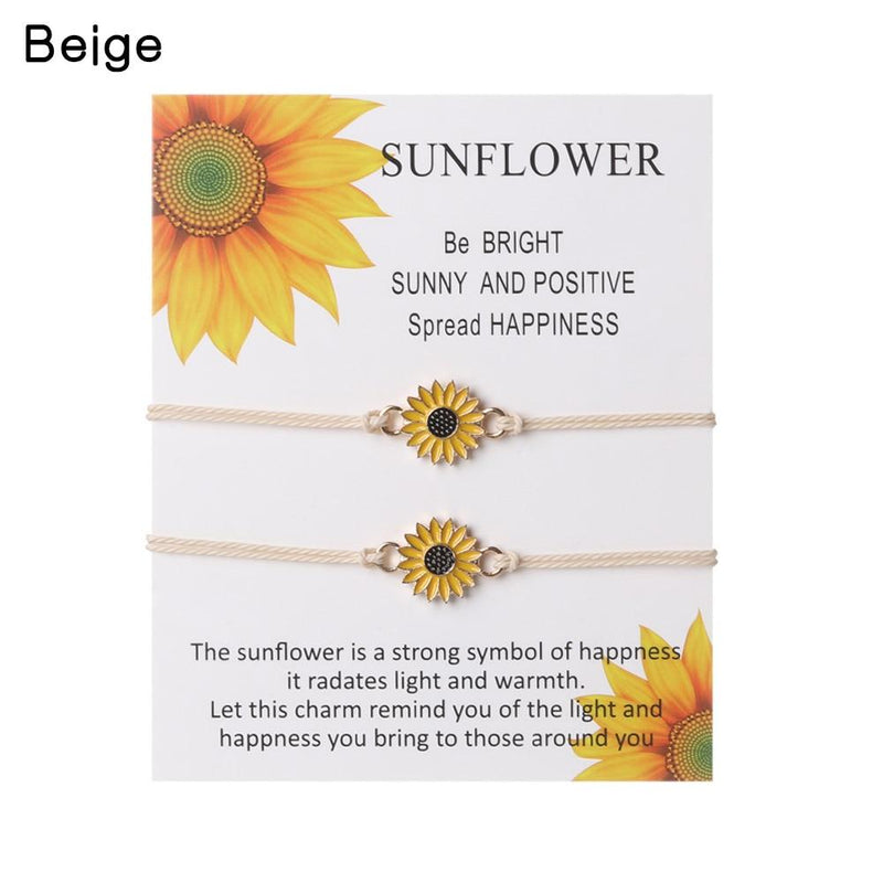 """TOGETHER FOREVER"" SUNFLOWER BRACELET SET"