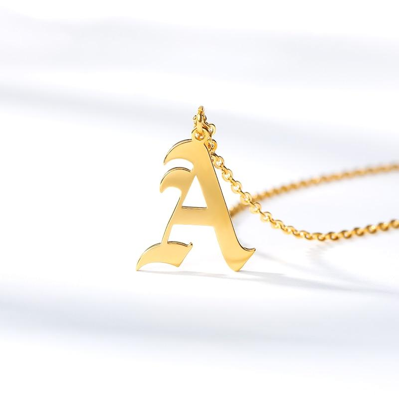Old English Initial Letter Necklace