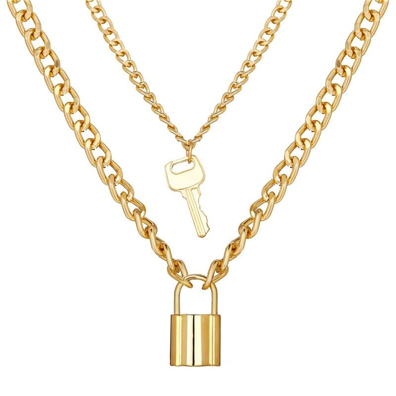 Key Lock Necklace Set