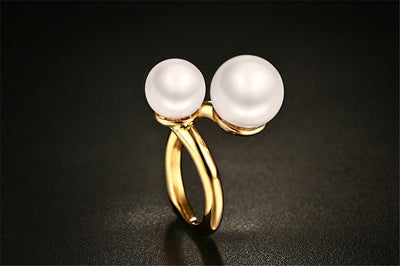 Pearl rings for women yellow gold color titanium stainless steel  jewelry