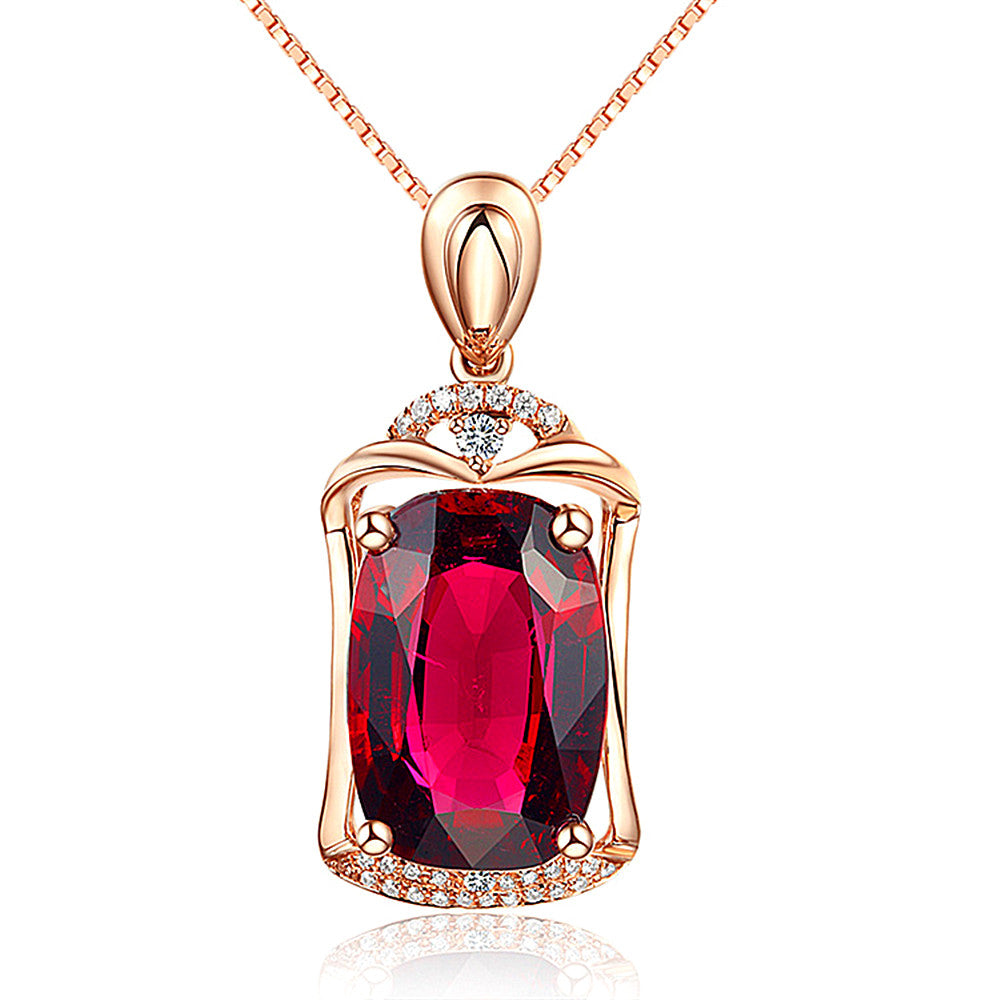 Ruby gemstones red crystal pendant necklaces