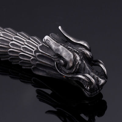 Black Men Biker Stainless steel Casting Dragon pattern bossy Bracelet 15mm 22cm (8.66'')
