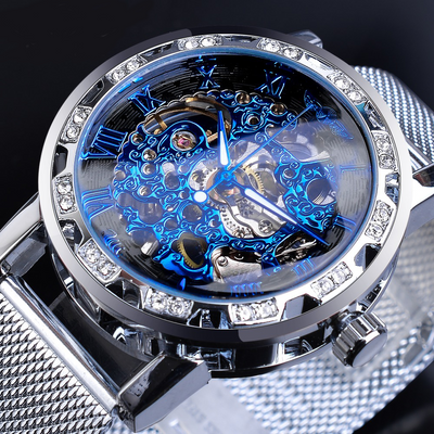 Crystal Mesh Slim Skeleton Mechanical Watch