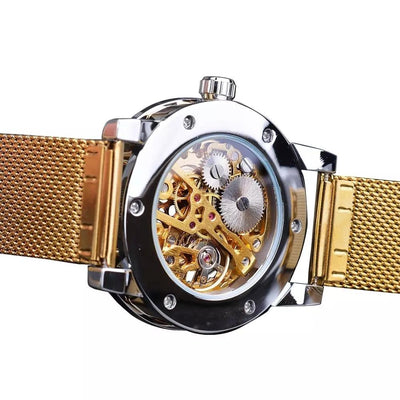 Golden Watches Men Skeleton Mechanical Watch  Crystal Mesh Slim Stainless Steel Band  Top Brand Luxury  Wristwatch