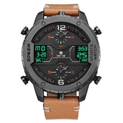 Men Digital Analog Leather Strap Sports Watch