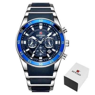 REWARD Brand Mens Watches Luxury Quartz Blue Watch Full Steel Men Chronograph Waterproof Business Wrist Watch Relogio Masculino