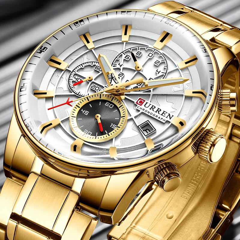 Watch Men Top Luxury Brand Gold Sport Waterproof Quartz Watches