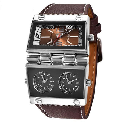 New Men Dual Display Sports Watches Oulm Men Watch Fold Big Size Fashion Outdoor Clock Leather Quartz Watch Relogio Masculino
