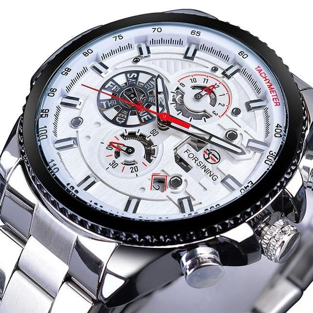 Three Dial Calendar Stainless Steel Men Mechanical Automatic Wrist Watches