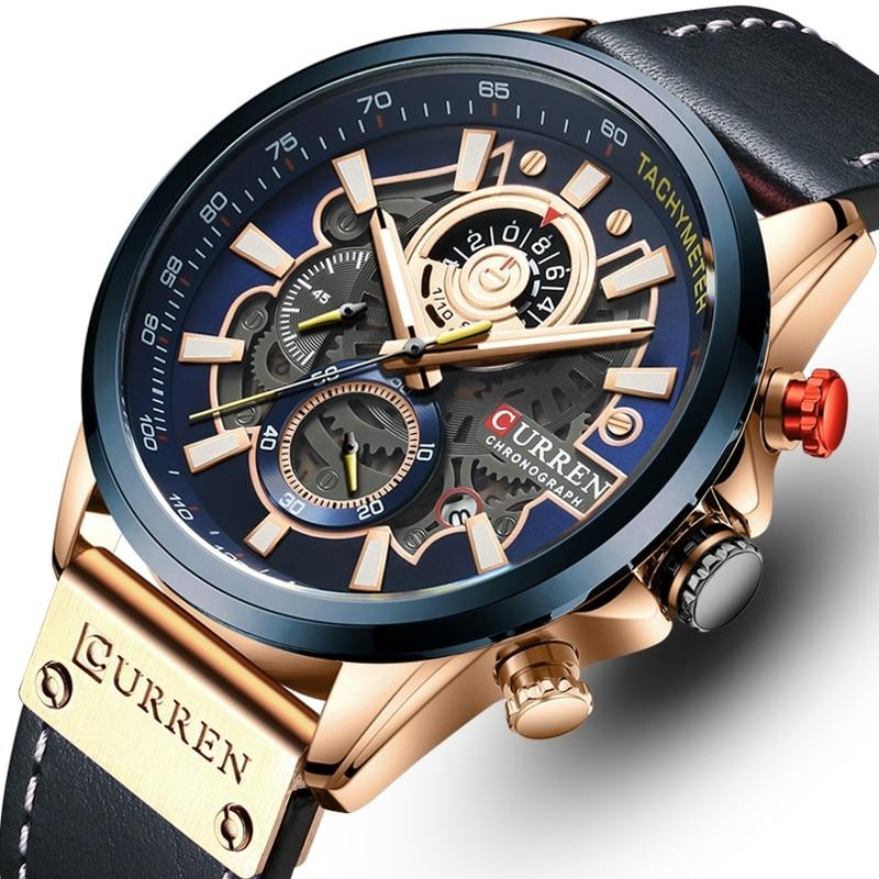 CURREN Mens Watches Luxury Brand Fashion Quartz Watch Men Leather Sports Wristwatch Chronograph Clock Male Relogio Masculino
