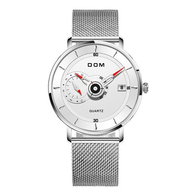 DOM Mens Watches Rriginal Design Brand Men Steel Sports Watches Men's Quartz Black Clock Waterproof Military Watch Clock  M-1299