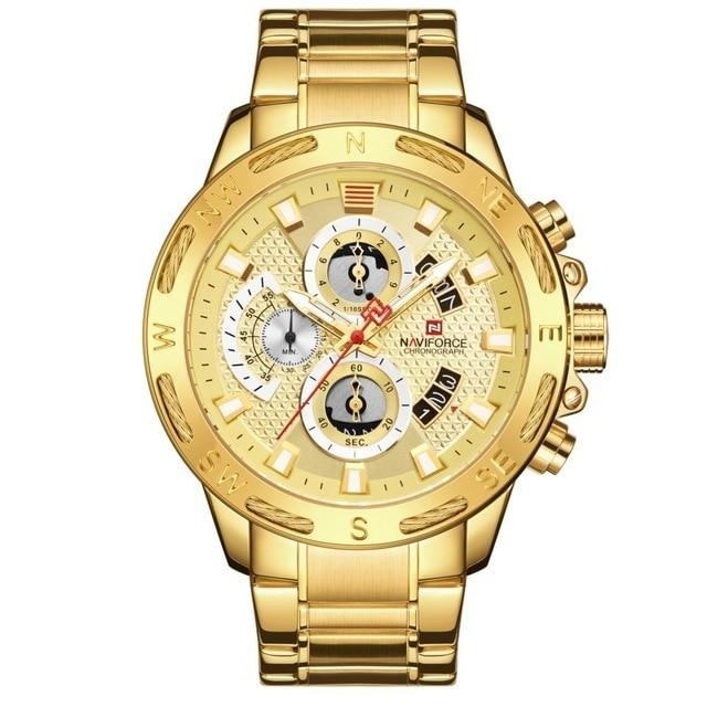Gold Men Watches Stainless Steel Quartz Watch