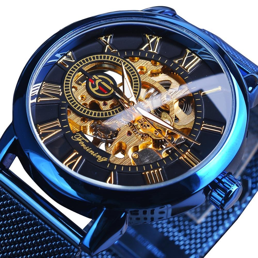 3D Skeleton Retro Design Golden Movement Men Mechanical Watches