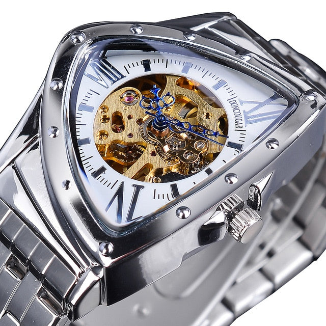 DUNCOUGAR Triangle Skeleton Dial Automatic Watch Black Silver Stainless Steel Waterproof Mechanical Watch Top Brand Men Clock