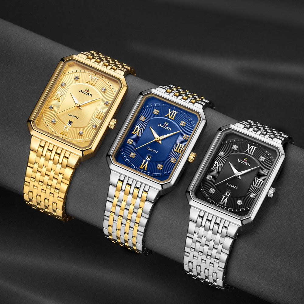 Men's Luxury Stainless Steel Gold Watch Top Brand Relogio Masculino Geneva Rectangle Quartz Watch Man Business Watches Mens 2020