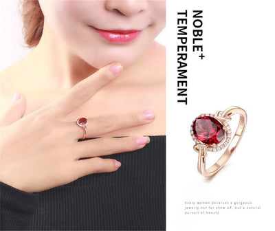 Red crystal rings Christmas gift